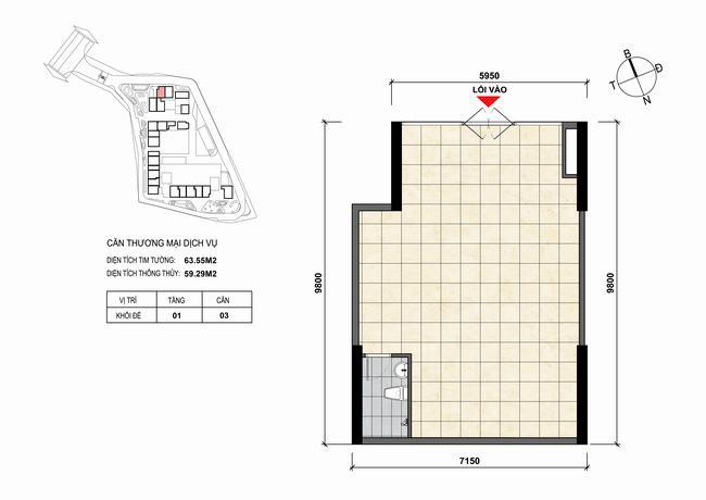 Mặt bằng thiết kế căn hộ Shophouse - TMDV 03 Opal Skyline Bình Dương