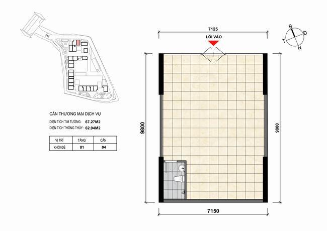 Mặt bằng thiết kế căn hộ Shophouse - TMDV 04 Opal Skyline Bình Dương