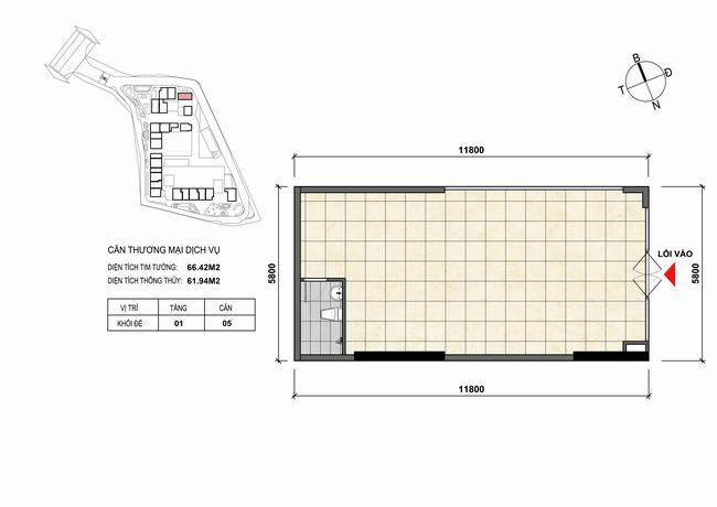 Mặt bằng thiết kế căn hộ Shophouse - TMDV 05 Opal Skyline Bình Dương