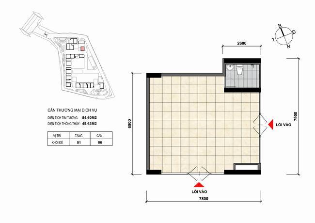 Mặt bằng thiết kế căn hộ Shophouse - TMDV 06 Opal Skyline Bình Dương