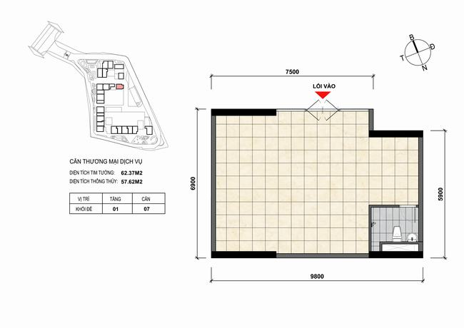 Mặt bằng thiết kế căn hộ Shophouse - TMDV 07 Opal Skyline Bình Dương