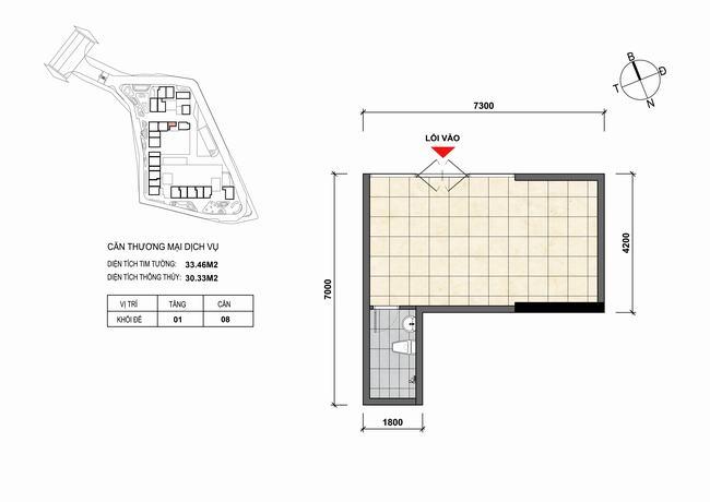Mặt bằng thiết kế căn hộ Shophouse - TMDV 08 Opal Skyline Bình Dương