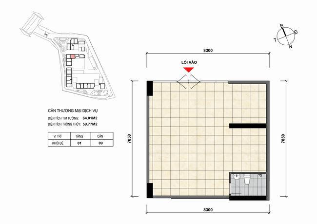 Mặt bằng thiết kế căn hộ Shophouse - TMDV 09 Opal Skyline Bình Dương