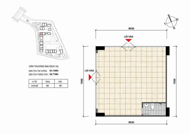 Mặt bằng thiết kế căn hộ Shophouse - TMDV 10 Opal Skyline Bình Dương