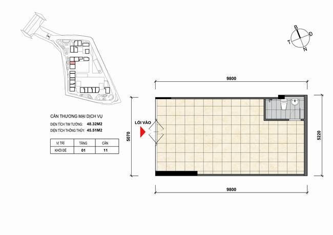 Mặt bằng thiết kế căn hộ Shophouse - TMDV 11 Opal Skyline Bình Dương