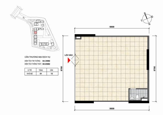 Mặt bằng thiết kế căn hộ Shophouse - TMDV 12 Opal Skyline Bình Dương