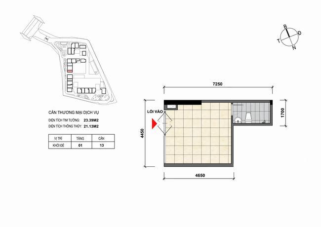 Mặt bằng thiết kế căn hộ Shophouse - TMDV 13 Opal Skyline Bình Dương