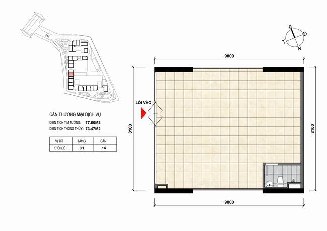 Mặt bằng thiết kế căn hộ Shophouse - TMDV 14 Opal Skyline Bình Dương