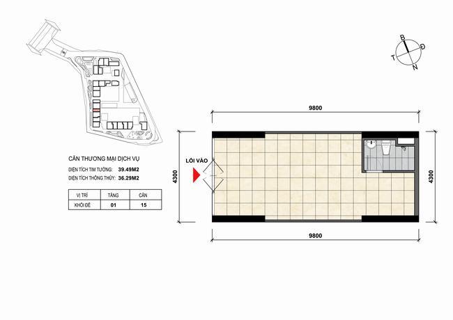 Mặt bằng thiết kế căn hộ Shophouse - TMDV 15 Opal Skyline Bình Dương
