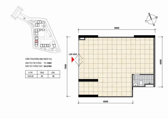 Mặt bằng thiết kế căn hộ Shophouse - TMDV 16 Opal Skyline Bình Dương