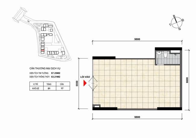 Mặt bằng thiết kế căn hộ Shophouse - TMDV 17 Opal Skyline Bình Dương