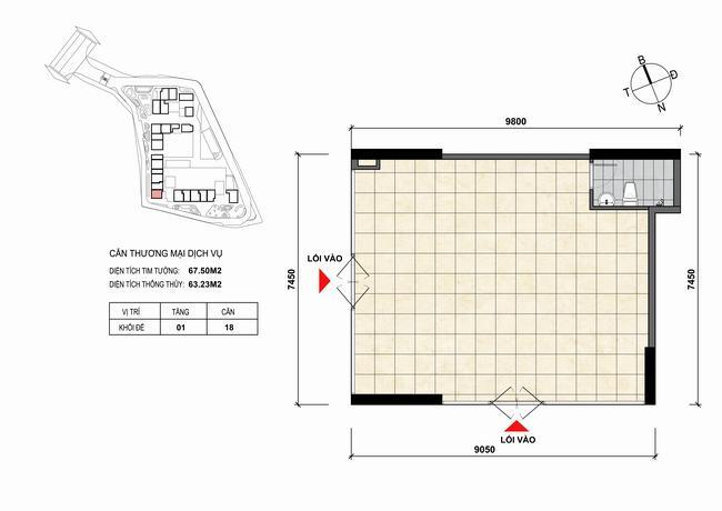 Mặt bằng thiết kế căn hộ Shophouse - TMDV 18 Opal Skyline Bình Dương