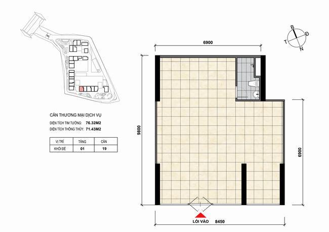 Mặt bằng thiết kế căn hộ Shophouse - TMDV 19 Opal Skyline Bình Dương