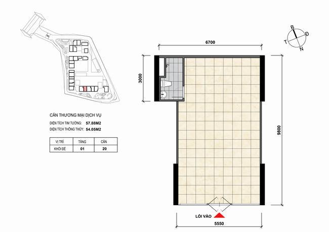 Mặt bằng thiết kế căn hộ Shophouse - TMDV 20 Opal Skyline Bình Dương