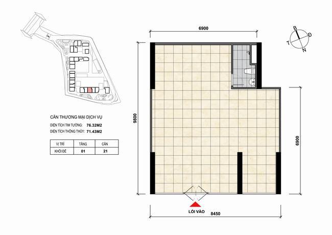 Mặt bằng thiết kế căn hộ Shophouse - TMDV 21 Opal Skyline Bình Dương
