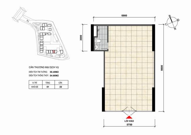Mặt bằng thiết kế căn hộ Shophouse - TMDV 22 Opal Skyline Bình Dương