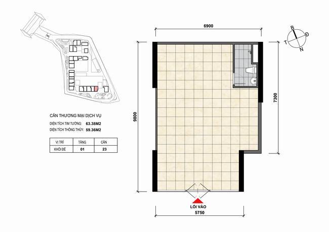 Mặt bằng thiết kế căn hộ Shophouse - TMDV 23 Opal Skyline Bình Dương