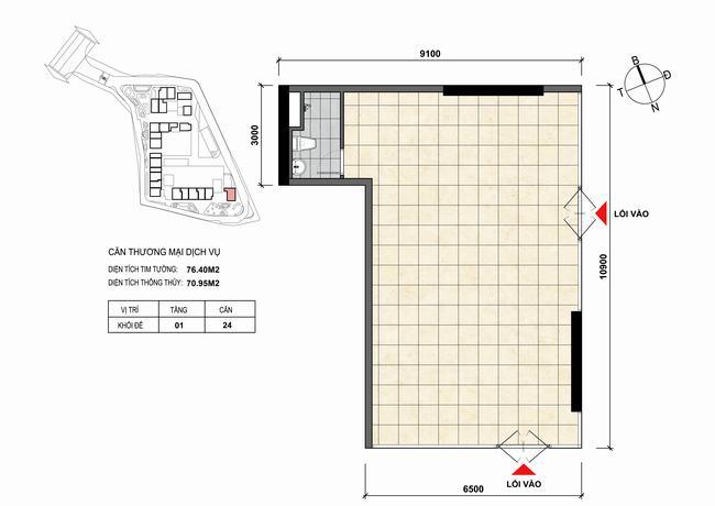 Mặt bằng thiết kế căn hộ Shophouse - TMDV 24 Opal Skyline Bình Dương
