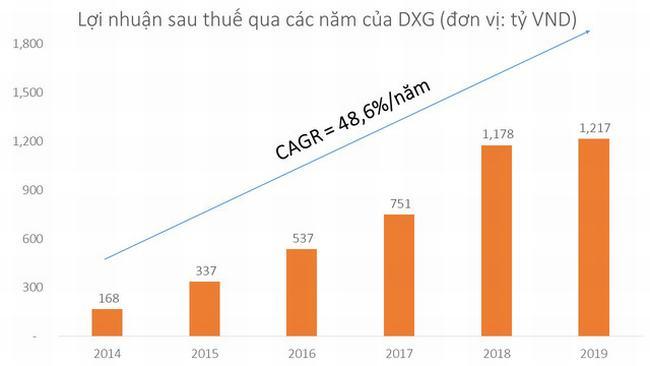 Bản đồ lợi nhuận DXG các năm gần đây