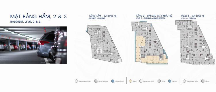 Mặt bằng thiết kế tầng hầm, tầng 02 & 03 dự án căn hộ Opal Skyline Bình Dương