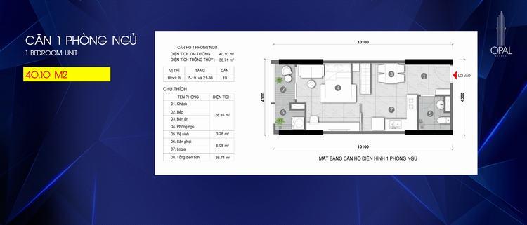 Mặt bằng thiết kế căn hộ 1 phòng ngủ dự án Opal Skyline Bình Dương