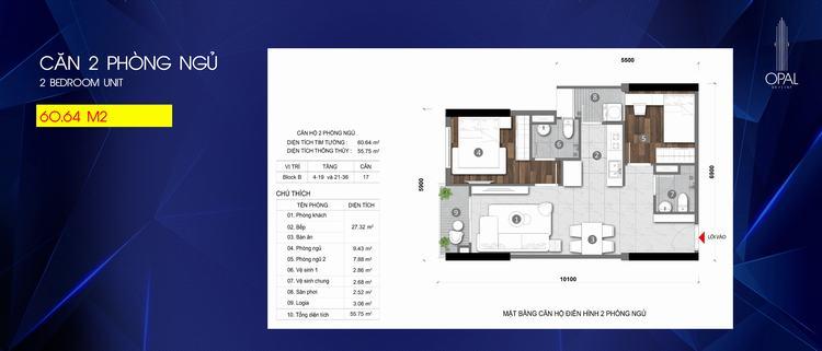 Mặt bằng thiết kế căn hộ 2 phòng ngủ dự án Opal Skyline Bình Dương