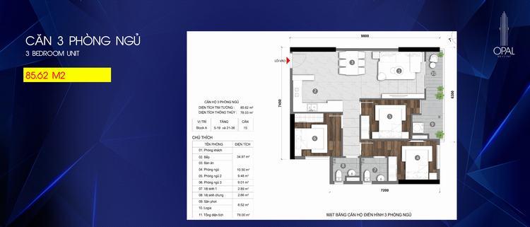 Mặt bằng thiết kế căn hộ 3 phòng ngủ dự án Opal Skyline Bình Dương