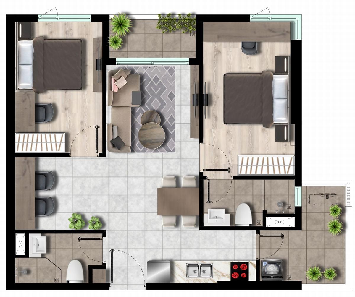 Mặt bằng West Gate Park - Căn hộ 2 phòng ngủ 75m2