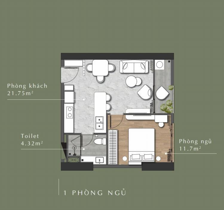 Thiết kế căn hộ 1 phòng ngủ dự án Stella En Tropic