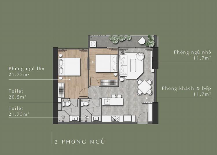 Thiết kế căn hộ 2 phòng ngủ dự án Stella En Tropic