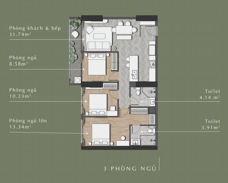 Thiết kế căn hộ 3\ phòng ngủ dự án Stella En Tropic