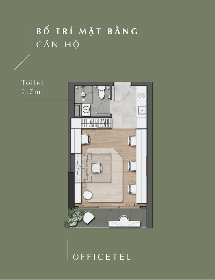 Thiết kế căn hộ Officetel dự án Stella En Tropic