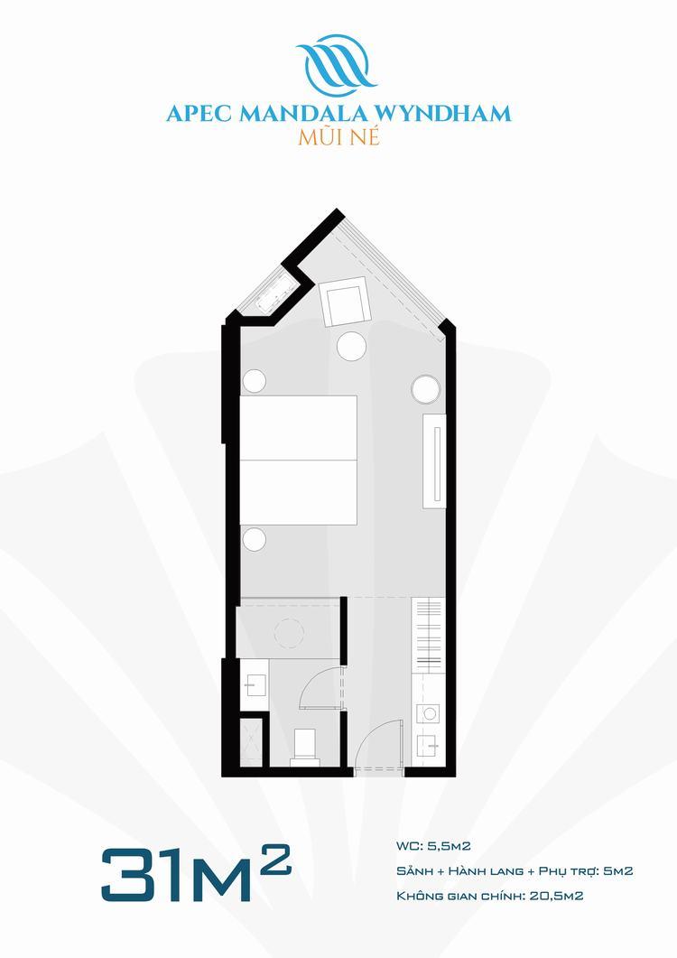 Mặt bằng thiết kế căn hộ 31m2 dự án Apec Mandala Wyndham Mũi Né