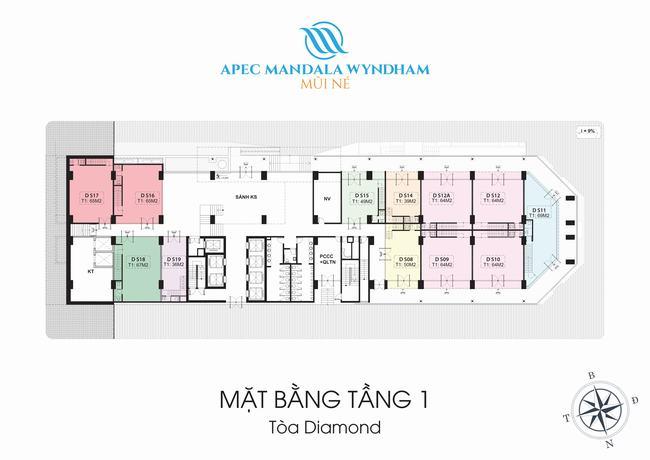 Mặt bằng Shophouse tầng 1 Block Diamond - Apec Mandala Wyndham Mũi Né