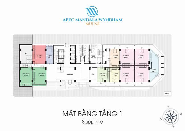 Mặt bằng Shophouse tầng 1 Block Sapphire - Apec Mandala Wyndham Mũi Né