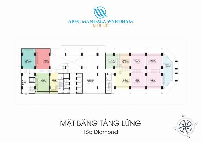 Mặt bằng Shophouse tầng lửng Block Diamond - Apec Mandala Wyndham Mũi Né