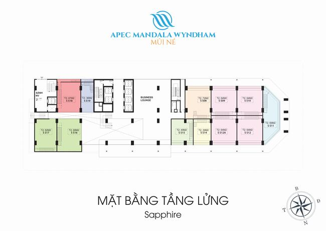 Mặt bằng Shophouse tầng lửng Block Sapphire - Apec Mandala Wyndham Mũi Né