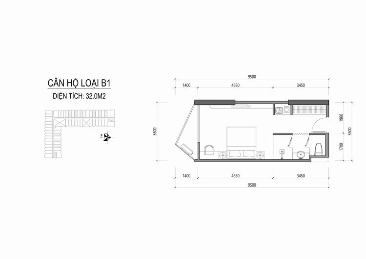 Mặt bằng thiết kế căn hộ loại B1 - Apec Mandala Wyndham Huế