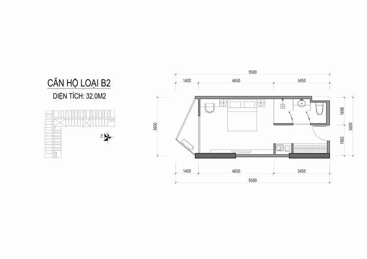 Mặt bằng thiết kế căn hộ loại B2 - Apec Mandala Wyndham Huế