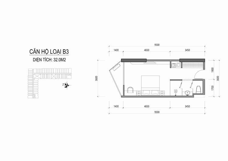 Mặt bằng thiết kế căn hộ loại B3 - Apec Mandala Wyndham Huế