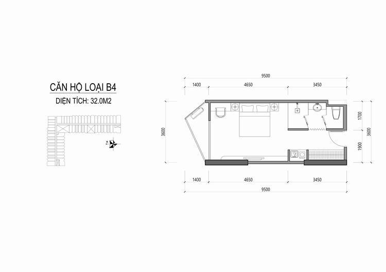 Mặt bằng thiết kế căn hộ loại B4 - Apec Mandala Wyndham Huế