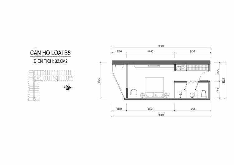 Mặt bằng thiết kế căn hộ loại B5 - Apec Mandala Wyndham Huế