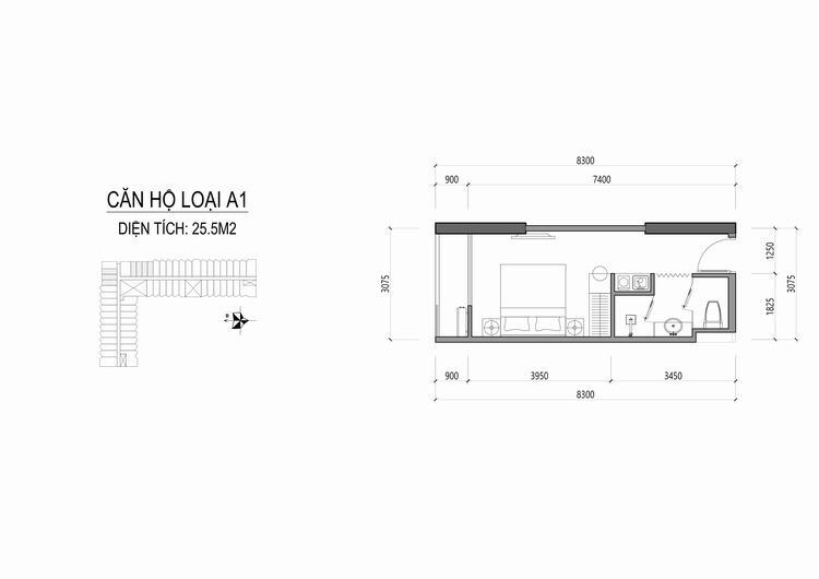 Mặt bằng thiết kế căn hộ loại A1 - Apec Mandala Wyndham Huế