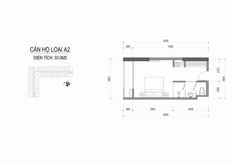 Mặt bằng thiết kế căn hộ loại A2 - Apec Mandala Wyndham Huế