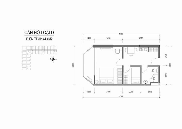 Mặt bằng thiết kế căn hộ loại D - Apec Mandala Wyndham Huế