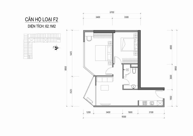 Mặt bằng thiết kế căn hộ loại F2 - Apec Mandala Wyndham Huế