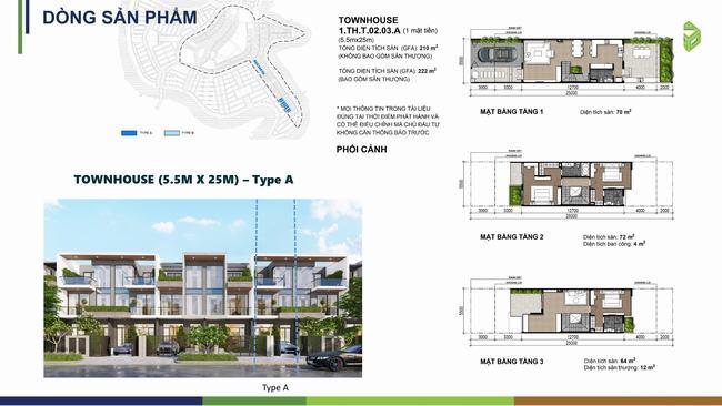 Mặt bằng thiết kế xây dựng nhà phố 5.5m x 25m Phoenix Central - Aqua City