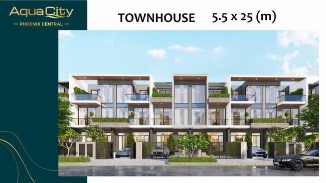 Thiết kế mẫu nhà phố 5.5m x 25m phân khu Phoenix Central - Aqua City