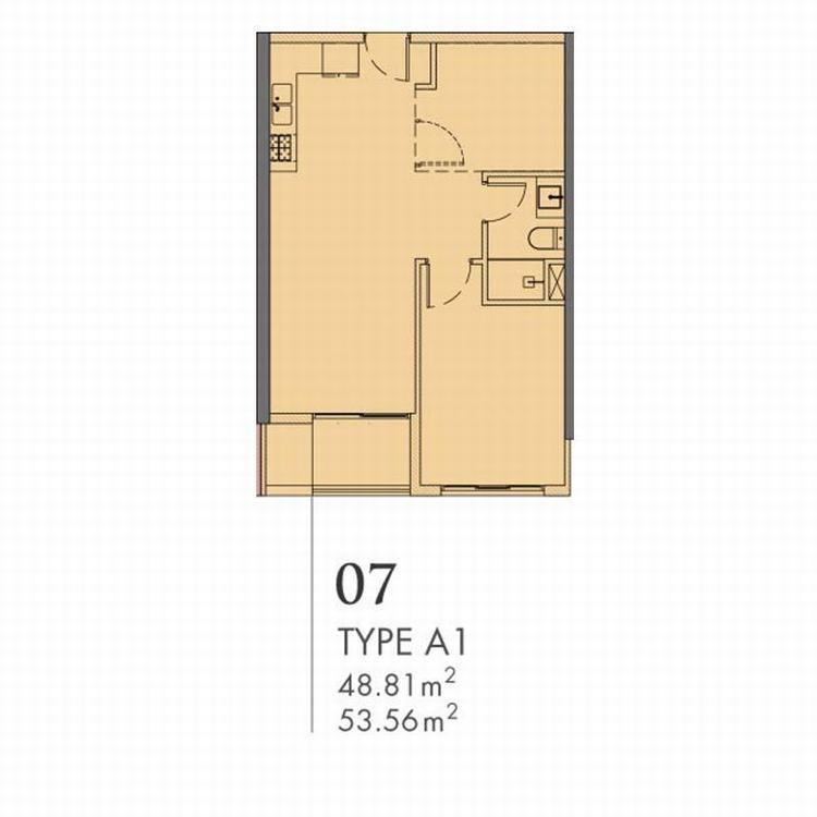 Thiết kế căn hộ 1 phòng ngủ tháp The Vega Astral City Bình Dương
