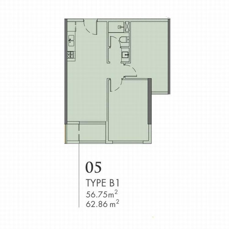 Mặt bằng thiết kế căn hộ 2 phòng ngủ 63m2 - Astral City Bình Dương